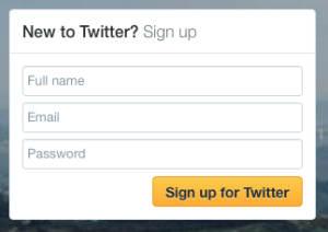 Actual Twitter Signup Box